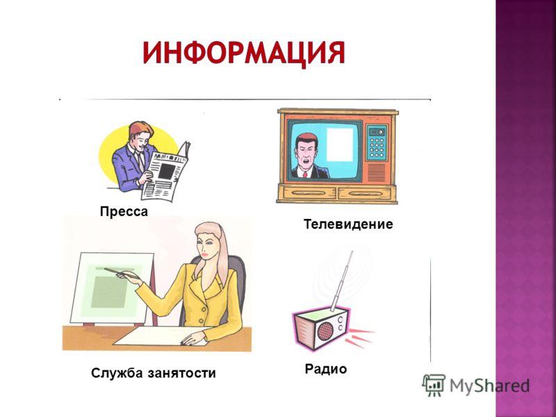 Пресса Служба занятости Радио Телевидение