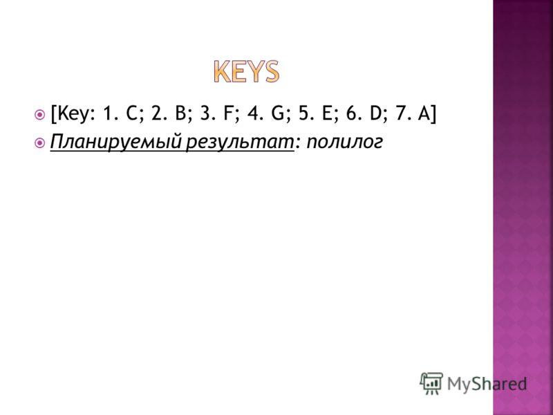 [Key: 1. C; 2. B; 3. F; 4. G; 5. E; 6. D; 7. A] Планируемый результат: полилог