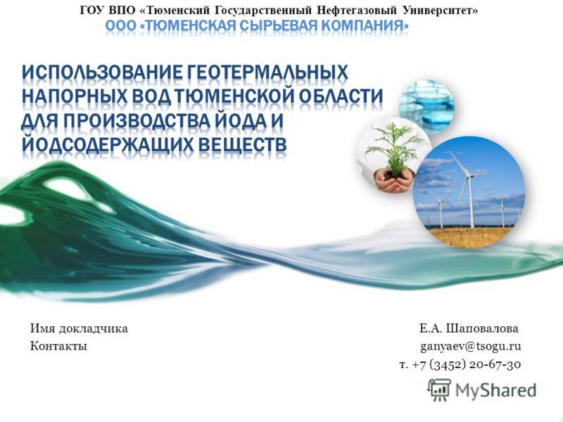Имя докладчика Е.А. Шаповалова Контакты ganyaev@tsogu.ru т. +7 (3452) 20-67-30 ГОУ ВПО «Тюменский Государственный Нефтегазовый Университет»