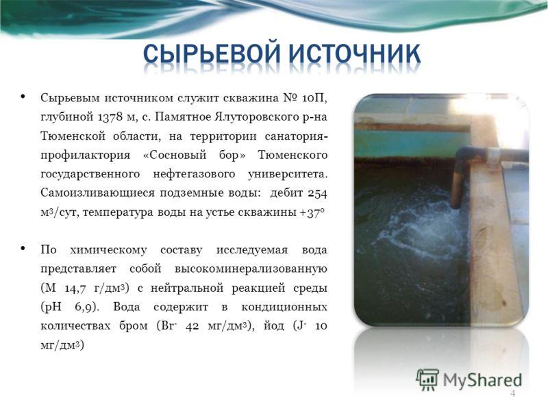 Сырьевым источником служит скважина 10П, глубиной 1378 м, с. Памятное Ялуторовского р-на Тюменской области, на территории санатория- профилактория «Сосновый бор» Тюменского государственного нефтегазового университета. Самоизливающиеся подземные воды: