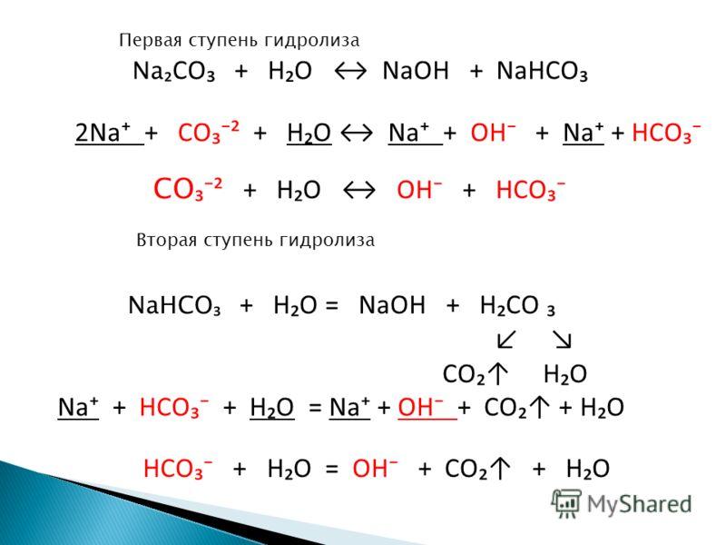 Na CO + H O NaOH + NaHCO 2Na + CO ² + H O Na + OH + Na + HCO CO ² + H O OH + HCO Первая ступень гидролиза Вторая ступень гидролиза NaHCO + H O = NaOH + H CO CO H O Na + HCO + H O = Na + OH + CO + H O HCO + H O = OH + CO + H O