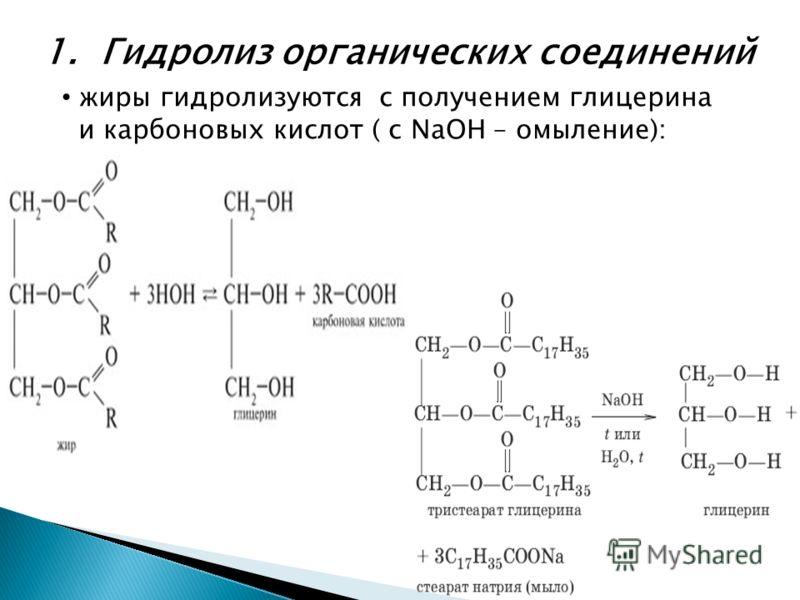 1. Гидролиз органических соединений жиры гидролизуются с получением глицерина и карбоновых кислот ( с NaOH – омыление):