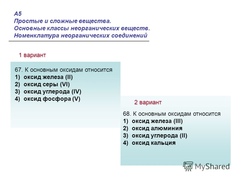А5 Простые и сложные вещества. Основные классы неорганических веществ. Номенклатура неорганических соединений 1 вариант 2 вариант Ответы: 67. К основным оксидам относится 1) оксид железа (II) 2) оксид серы (VI) 3) оксид углерода (IV) 4) оксид фосфора