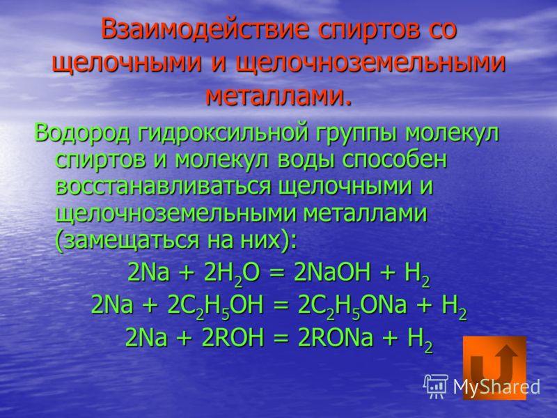 Взаимодействие спиртов со щелочными и щелочноземельными металлами. Водород гидроксильной группы молекул спиртов и молекул воды способен восстанавливаться щелочными и щелочноземельными металлами (замещаться на них): 2Na + 2H 2 O = 2NaOH + H 2 2Na + 2C