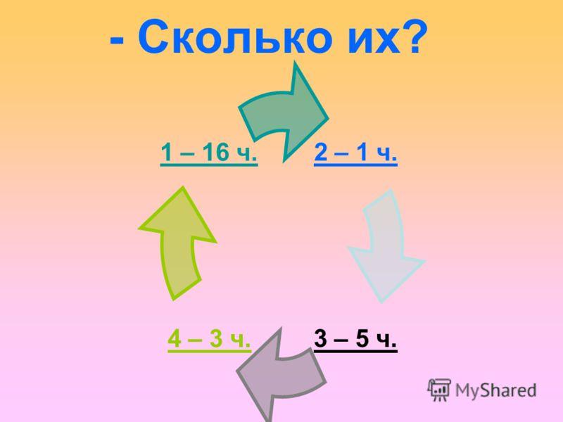 - Сколько их? 2 – 1 ч. 3 – 5 ч. 4 – 3 ч. 1 – 16 ч.
