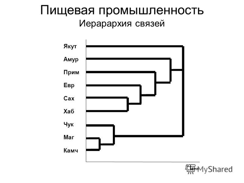 Пищевая промышленность Иерарархия связей Якут Амур Прим Евр Сах Хаб Чук Маг Камч L mn
