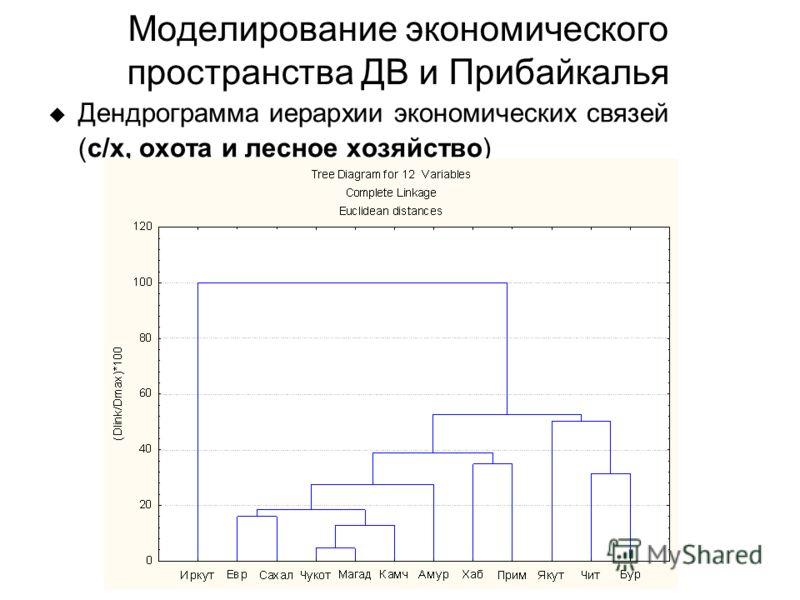 Дендрограмма иерархии экономических связей (с/х, охота и лесное хозяйство) Моделирование экономического пространства ДВ и Прибайкалья