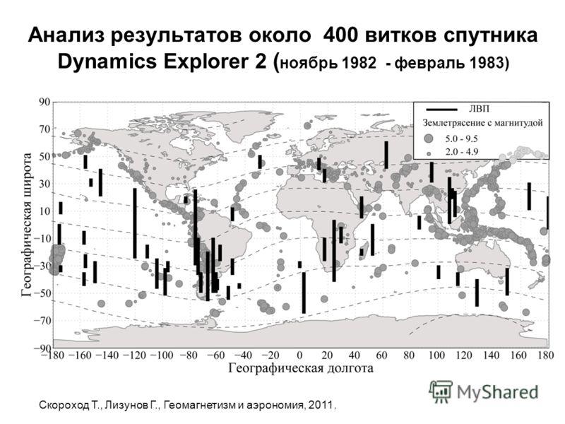 Анализ результатов около 400 витков спутника Dynamics Explorer 2 ( ноябрь 1982 - февраль 1983) Скороход T., Лизунов Г., Геомагнетизм и аэрономия, 2011.
