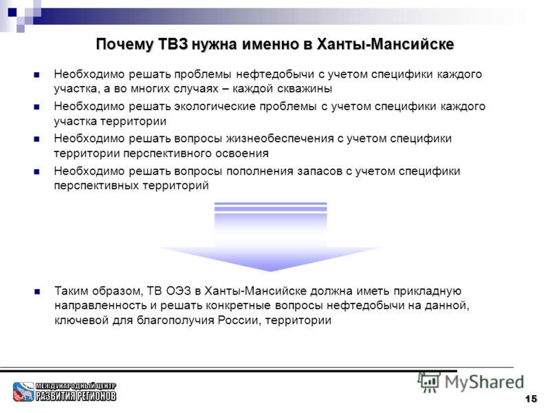 15 Почему ТВЗ нужна именно в Ханты-Мансийске Необходимо решать проблемы нефтедобычи с учетом специфики каждого участка, а во многих случаях – каждой скважины Необходимо решать экологические проблемы с учетом специфики каждого участка территории Необх