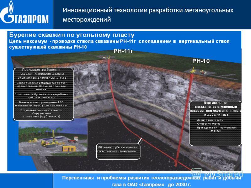 Инновационный технологии разработки метаноугольных месторождений Перспективы и проблемы развития геологоразведочных работ и добычи газа в ОАО «Газпром» до 2030 г.
