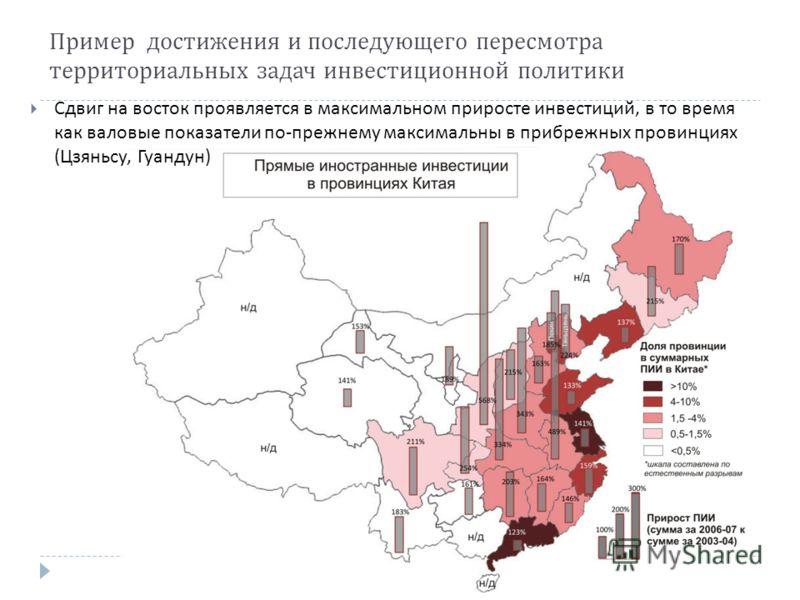 Пример достижения и последующего пересмотра территориальных задач инвестиционной политики Сдвиг на восток проявляется в максимальном приросте инвестиций, в то время как валовые показатели по - прежнему максимальны в прибрежных провинциях ( Цзяньсу, Г