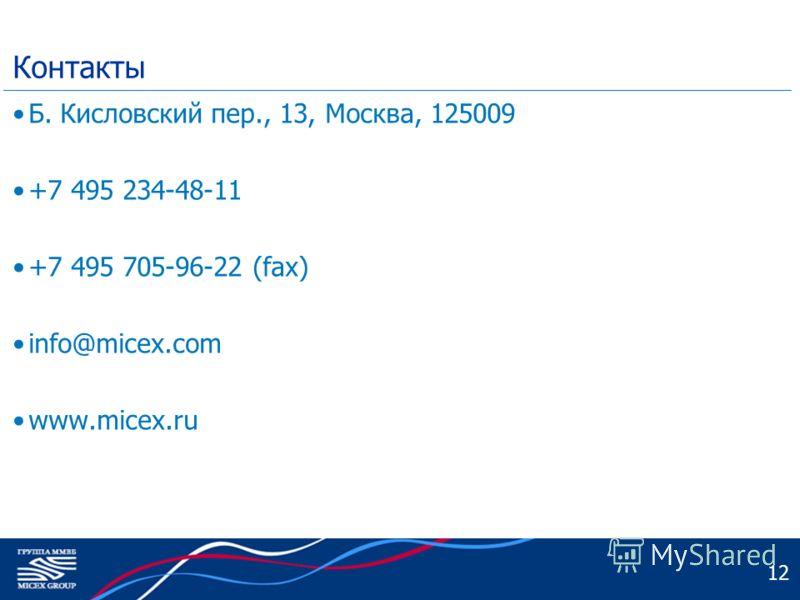 12 Контакты Б. Кисловский пер., 13, Москва, 125009 +7 495 234-48-11 +7 495 705-96-22 (fax) info@micex.com www.micex.ru