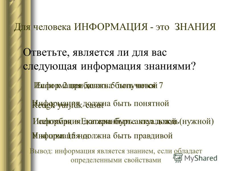 Ответьте, является ли для вас следующая информация знаниями? Если к 2 прибавить 5 получится 7 1 сентября в Екатеринбурге шел дождь Reugk yurjfdk casut У кошки 15 ног ЗНАНИЯ … Для человека ИНФОРМАЦИЯ - это Информация должна быть новой Информация должн
