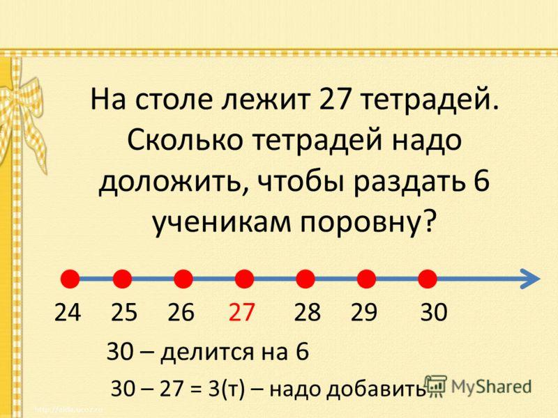 На столе лежит 27 тетрадей. Сколько тетрадей надо доложить, чтобы раздать 6 ученикам поровну? 27282930262524 30 – 27 = 3(т) – надо добавить 30 – делится на 6