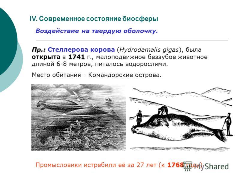 IV. Современное состояние биосферы Воздействие на твердую оболочку. Живое вещество. Исчезновение видов. С 1600 с Земли исчезло: - 63 вида и 55 подвидов млекопитающих, - 103 вида и подвида птиц, - 21 вид рептилий, - 23 вида рыб.