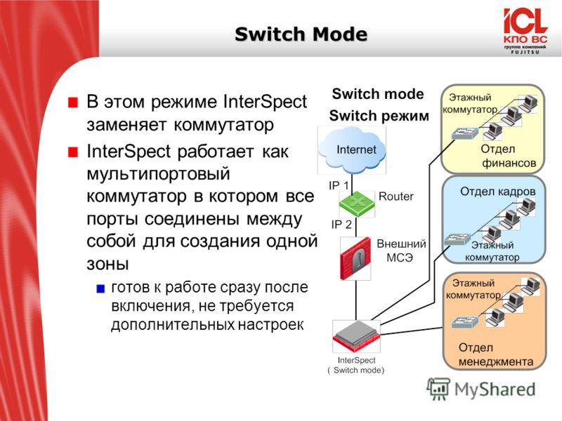 Switch Mode В этом режиме InterSpect заменяет коммутатор InterSpect работает как мультипортовый коммутатор в котором все порты соединены между собой для создания одной зоны готов к работе сразу после включения, не требуется дополнительных настроек