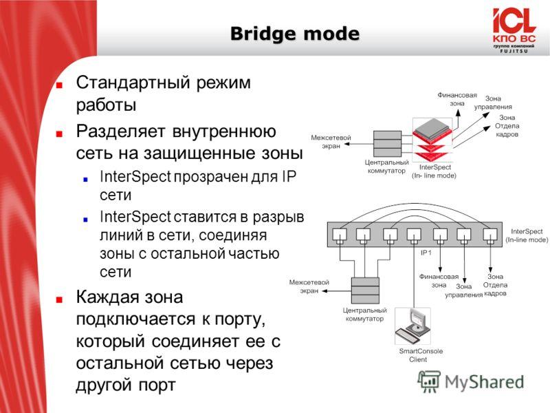 Bridge mode Стандартный режим работы Разделяет внутреннюю сеть на защищенные зоны InterSpect прозрачен для IP сети InterSpect ставится в разрыв линий в сети, соединяя зоны с остальной частью сети Каждая зона подключается к порту, который соединяет ее