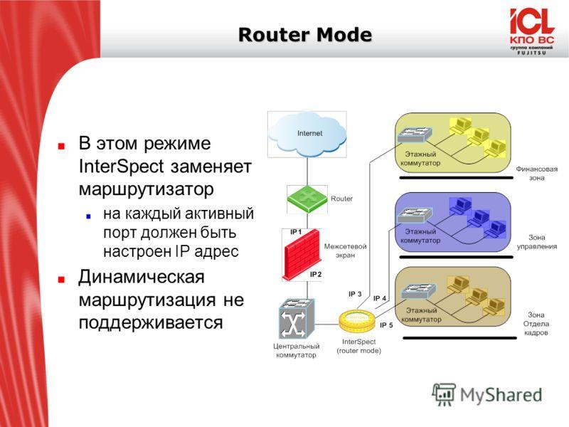 Router Mode В этом режиме InterSpect заменяет маршрутизатор на каждый активный порт должен быть настроен IP адрес Динамическая маршрутизация не поддерживается