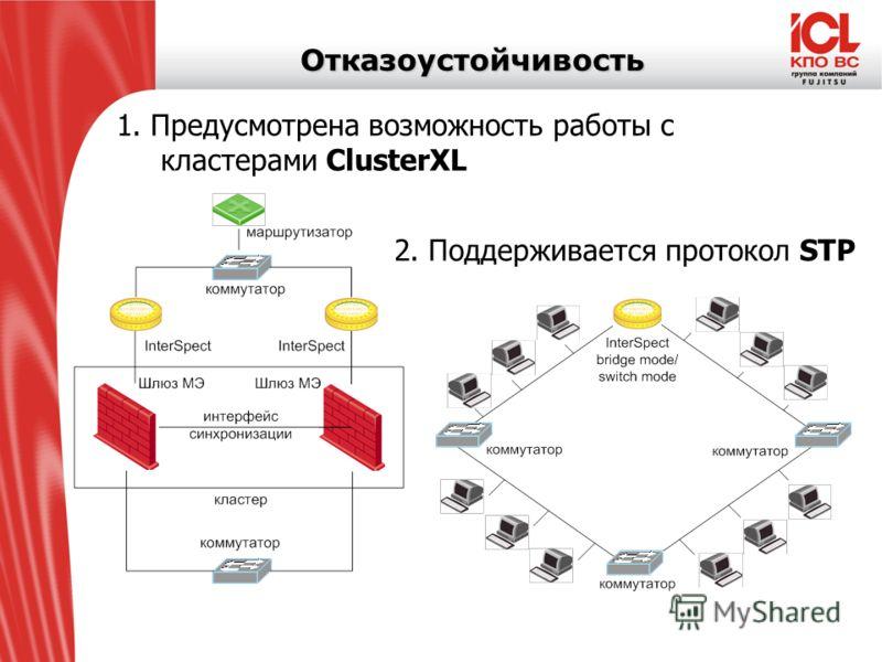 Отказоустойчивость 1. Предусмотрена возможность работы с кластерами ClusterXL 2. Поддерживается протокол STP