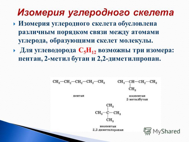 Изомерия углеродного скелета обусловлена различным порядком связи между атомами углерода, образующими скелет молекулы. Для углеводорода С 5 Н 12 возможны три изомера: пентан, 2-метил бутан и 2,2-диметилпропан.