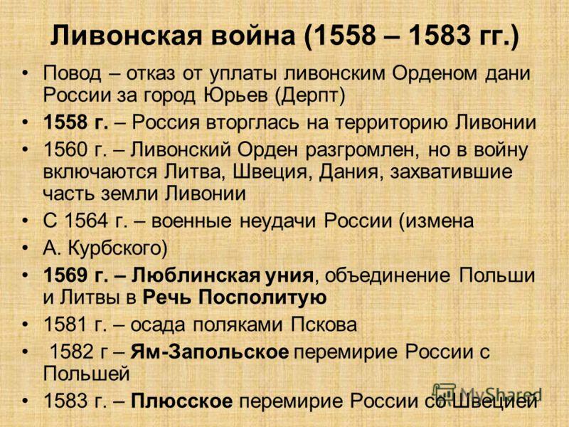 Ливонская война (1558 – 1583 гг.) Повод – отказ от уплаты ливонским Орденом дани России за город Юрьев (Дерпт) 1558 г. – Россия вторглась на территорию Ливонии 1560 г. – Ливонский Орден разгромлен, но в войну включаются Литва, Швеция, Дания, захватив