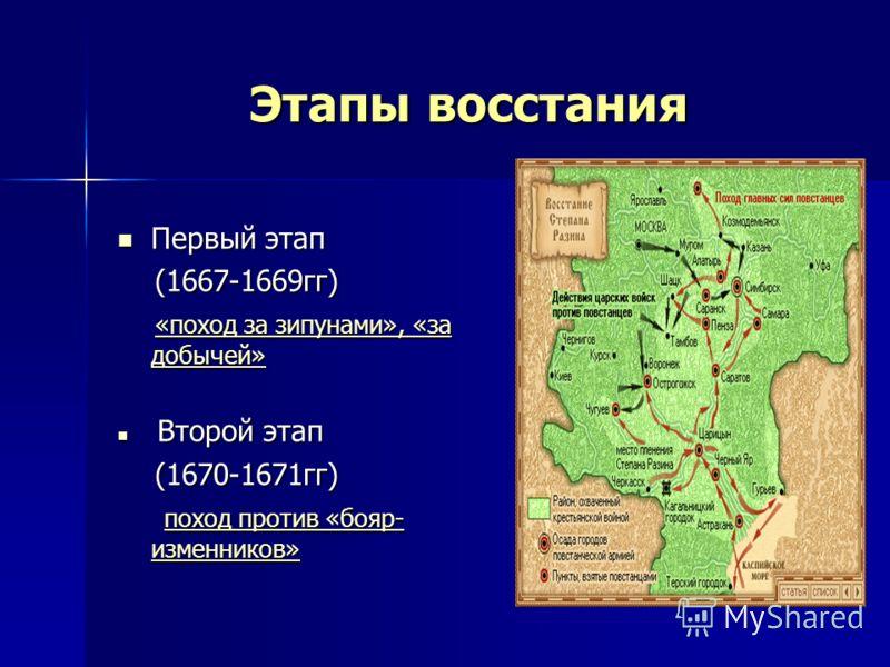 Этапы восстания Первый этап Первый этап (1667-1669гг) (1667-1669гг) «поход за зипунами», «за добычей» «поход за зипунами», «за добычей» «поход за зипунами», «за добычей» «поход за зипунами», «за добычей» Второй этап Второй этап (1670-1671гг) (1670-16