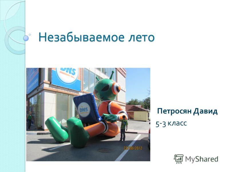 Незабываемое лето Петросян Давид 5-3 класс