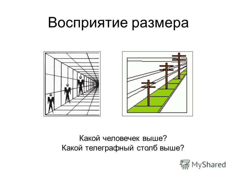 Восприятие размера Какой человечек выше? Какой телеграфный столб выше?
