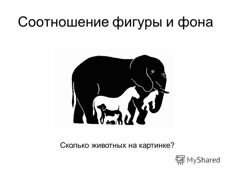 Соотношение фигуры и фона Сколько животных на картинке?