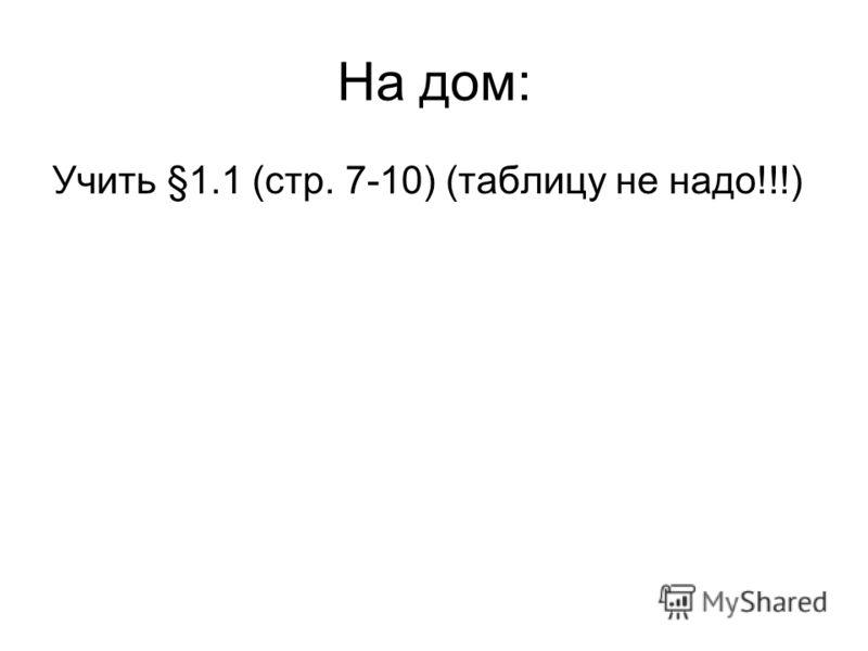 На дом: Учить §1.1 (стр. 7-10) (таблицу не надо!!!)