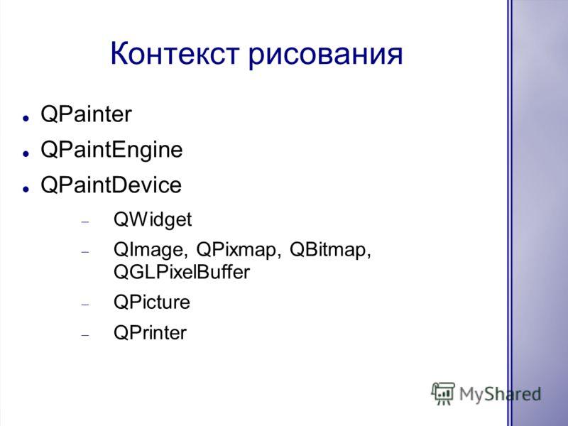 Контекст рисования QPainter QPaintEngine QPaintDevice QWidget QImage, QPixmap, QBitmap, QGLPixelBuffer QPicture QPrinter