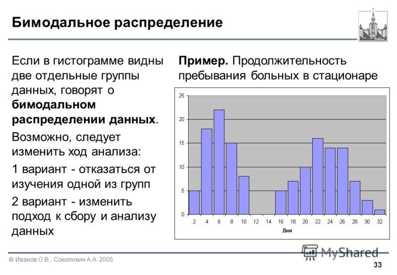 33 Иванов О.В., Соколихин А.А. 2005 Бимодальное распределение Если в гистограмме видны две отдельные группы данных, говорят о бимодальном распределении данных. Возможно, следует изменить ход анализа: 1 вариант - отказаться от изучения одной из групп