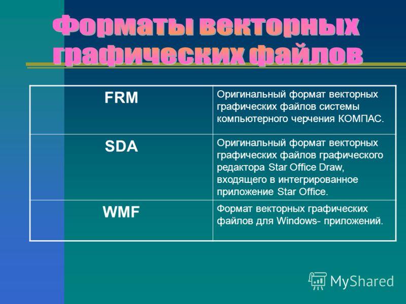 FRM Оригинальный формат векторных графических файлов системы компьютерного черчения КОМПАС. SDA Оригинальный формат векторных графических файлов графического редактора Star Office Draw, входящего в интегрированное приложение Star Office. WMF Формат в
