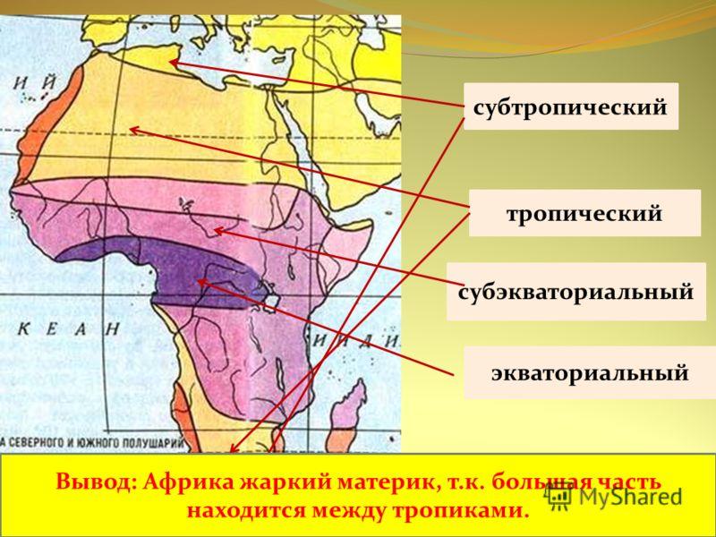 экваториальный субэкваториальный тропический субтропический Вывод: Африка жаркий материк, т.к. большая часть находится между тропиками.