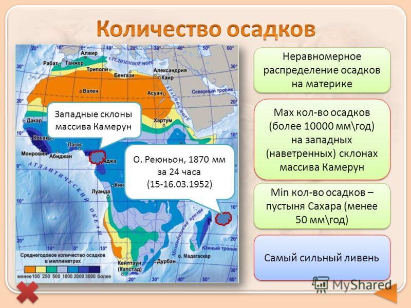 Самый сильный ливень О. Реюньон, 1870 мм за 24 часа (15-16.03.1952) Неравномерное распределение осадков на материке Max кол-во осадков (более 10000 мм\год) на западных (наветренных) склонах массива Камерун Min кол-во осадков – пустыня Сахара (менее 5