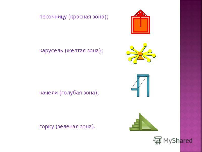 песочницу (красная зона); карусель (желтая зона); качели (голубая зона); горку (зеленая зона).