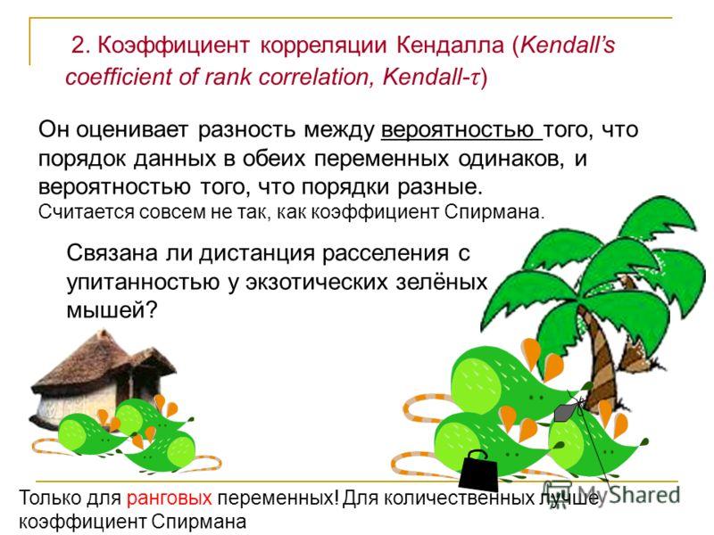 2. Коэффициент корреляции Кендалла (Kendalls coefficient of rank correlation, Kendall- τ ) Связана ли дистанция расселения с упитанностью у экзотических зелёных мышей? Он оценивает разность между вероятностью того, что порядок данных в обеих переменн