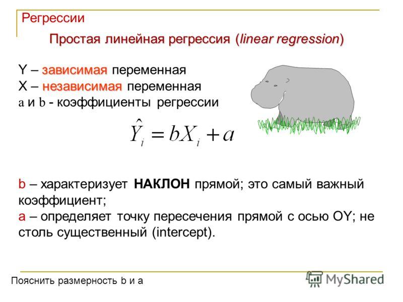 Простая линейная регрессия (linear regression) зависимая Y – зависимая переменная независимая X – независимая переменная a и b - коэффициенты регрессии b – характеризует НАКЛОН прямой; это самый важный коэффициент; a – определяет точку пересечения пр