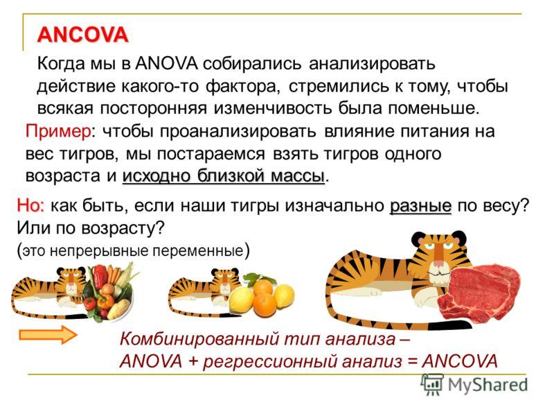 ANCOVA Когда мы в ANOVA собирались анализировать действие какого-то фактора, стремились к тому, чтобы всякая посторонняя изменчивость была поменьше. исходно близкой массы Пример: чтобы проанализировать влияние питания на вес тигров, мы постараемся вз