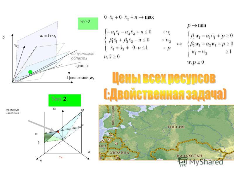 Цена земли,w 1 w2w2 p -grad p допустимая область Тип 2. x1x1 x2x2 x3x3 Максимум населения β1β1 β2 β2 α1α1 α2 α2 T=1 w 2 >0