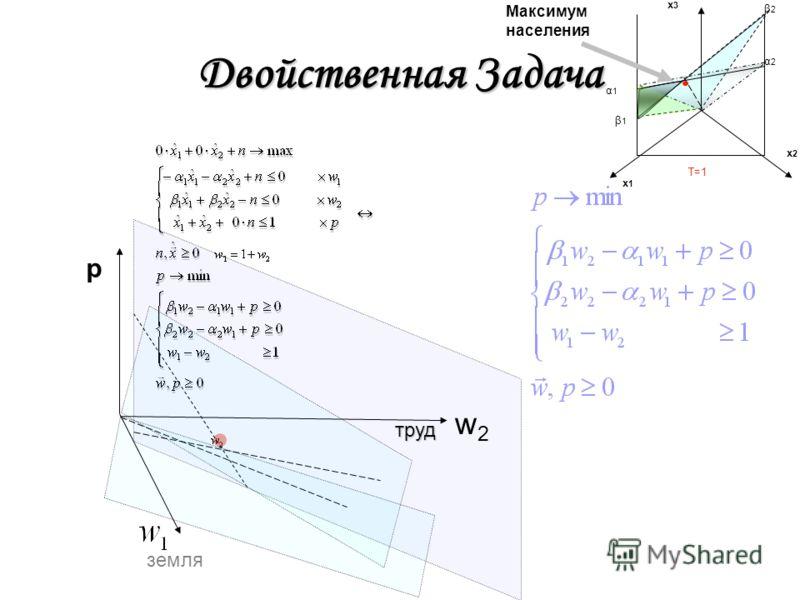 Двойственная Задача w2w2 p x1x1 x2x2 x3x3 Максимум населения β1β1 β2 β2 α1α1 α2 α2 T=1 труд земля
