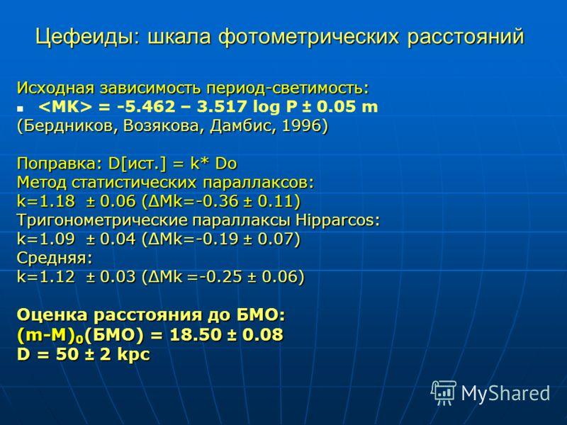 Цефеиды: шкала фотометрических расстояний Исходная зависимость период-светимость: = -5.462 – 3.517 log P ± 0.05 m (Бердников, Возякова, Дамбис, 1996) Поправка: D[ист.] = k* Do Метод статистических параллаксов: k=1.18 ± 0.06 (ΔMk=-0.36 ± 0.11) Тригоно