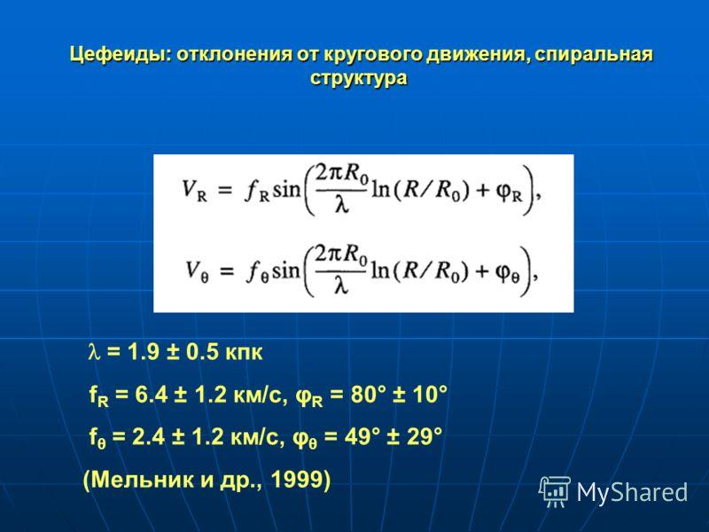 Цефеиды: отклонения от кругового движения, спиральная структура Цефеиды: отклонения от кругового движения, спиральная структура = 1.9 ± 0.5 кпк f R = 6.4 ± 1.2 км/с, φ R = 80° ± 10° f θ = 2.4 ± 1.2 км/с, φ θ = 49° ± 29° (Мельник и др., 1999)