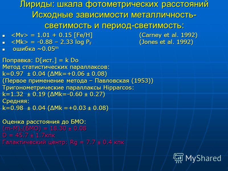 Лириды: шкала фотометрических расстояний Исходные зависимости металличность- светимость и период-светимость: = 1.01 + 0.15 [Fe/H] (Carney et al. 1992) = 1.01 + 0.15 [Fe/H] (Carney et al. 1992) = -0.88 – 2.33 log P F (Jones et al. 1992) = -0.88 – 2.33