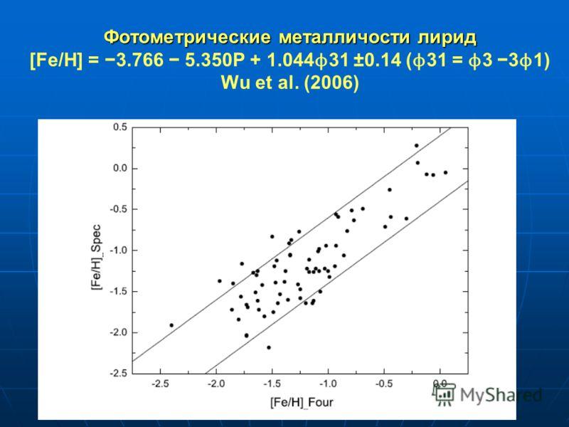 Фотометрические металличости лирид Фотометрические металличости лирид [Fe/H] = 3.766 5.350P + 1.044 ϕ 31 ±0.14 ( ϕ 31 = ϕ 3 3 ϕ 1) Wu et al. (2006)