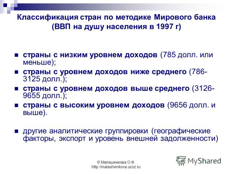 © Малашенкова О.Ф. http://malashenkova.ucoz.ru Классификация стран по методике Мирового банка (ВВП на душу населения в 1997 г) страны с низким уровнем доходов (785 долл. или меньше); страны с уровнем доходов ниже среднего (786- 3125 долл.); страны с