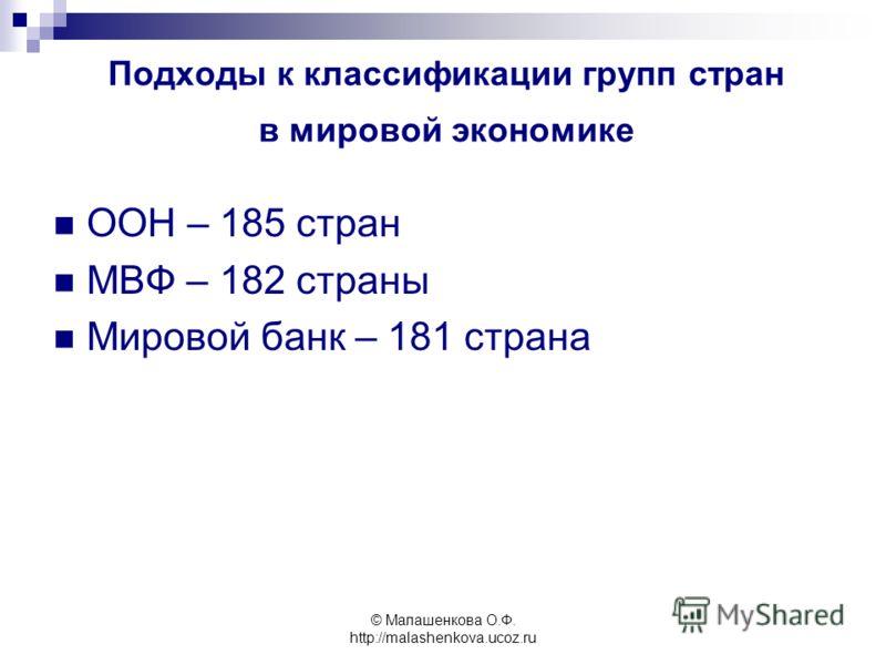 © Малашенкова О.Ф. http://malashenkova.ucoz.ru Подходы к классификации групп стран в мировой экономике ООН – 185 стран МВФ – 182 страны Мировой банк – 181 страна