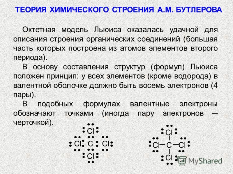 ТЕОРИЯ ХИМИЧЕСКОГО СТРОЕНИЯ А.М. БУТЛЕРОВА Октетная модель Льюиса оказалась удачной для описания строения органических соединений (большая часть которых построена из атомов элементов второго периода). В основу составления структур (формул) Льюиса пол