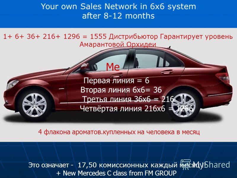Your own Sales Network in 6x6 system after 8-12 months Это означает - 17,50 комиссионных каждый месяц !! + New Mercedes C class from FM GROUP 4 флакона ароматов.купленных на человека в месяц 1+ 6+ 36+ 216+ 1296 = 1555 Дистрибьютор Гарантирует уровень