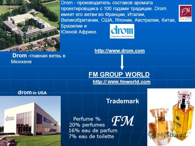 FM GROUP WORLD Drom - производитель составов аромата проектировщика с 100 годами традиции. Drom имеет его ветви во Франции, Италии, Великобритании, США, Японии, Австралии, Китае, Бразилии и Южной Африке. http:// WWW.fmworld.com http://www.drom.com Dr
